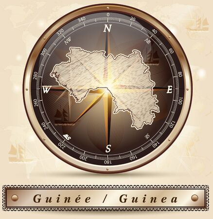 guinea: Map of Guinea with borders in bronze