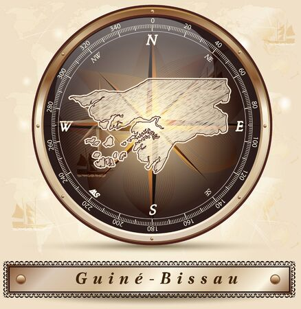 guinea bissau: Map of Guinea Bissau with borders in bronze