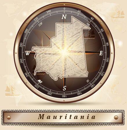 mauritania: Map of mauritania with borders in bronze