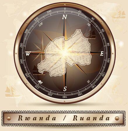 rwanda: Map of Rwanda with borders in bronze Illustration