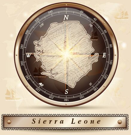 leone: Map of sierra leone with borders in bronze