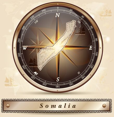somaliland: Map of Somalia with borders in bronze