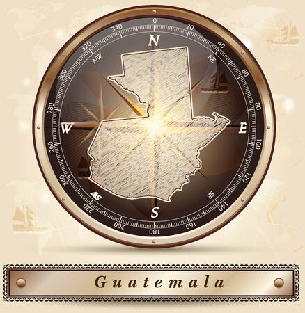 guatemala: Map of Guatemala with borders in bronze