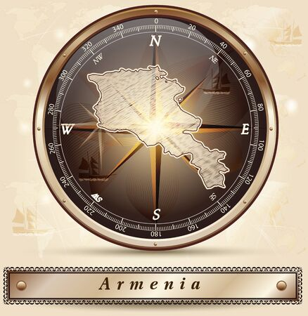 map of armenia: Map of Armenia with borders in bronze