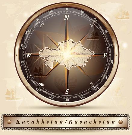 kazakhstan: Map of kazakhstan with borders in bronze Illustration