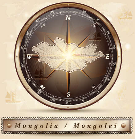 mongolia: Map of Mongolia with borders in bronze
