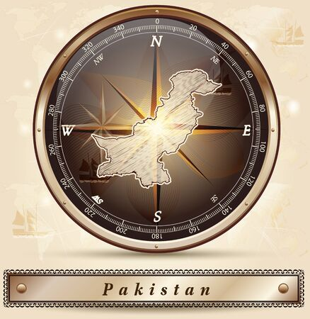 Map of Pakistan with borders in bronze
