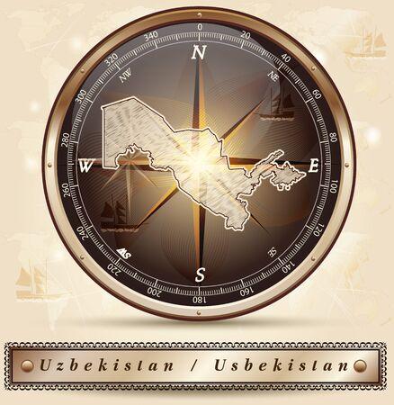 uzbekistan: Map of Uzbekistan with borders in bronze Illustration