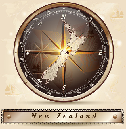 Map of new zealand with borders in bronze Ilustracja