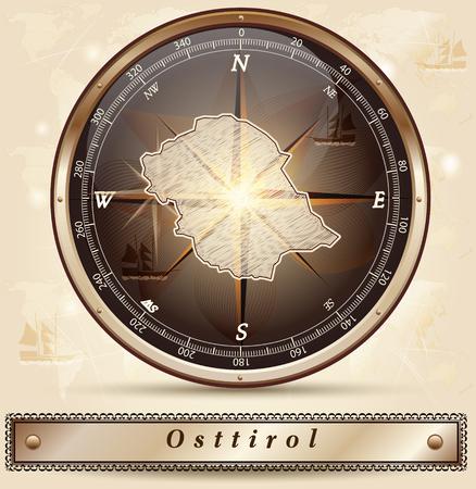 チロル: 青銅のボーダーと東チロルの地図  イラスト・ベクター素材