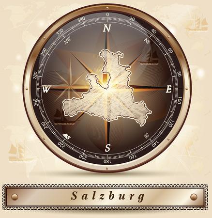 saalfelden: Map of salzburg with borders in bronze