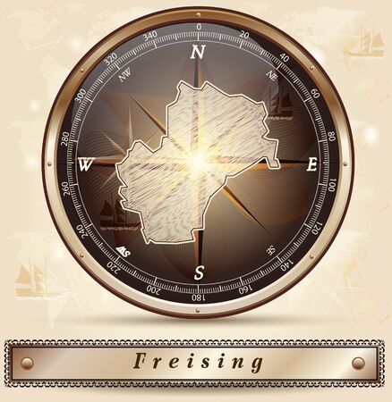 freising: Map of Freising with borders in bronze