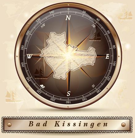 Map of Bad-Kissingen with borders in bronze Иллюстрация