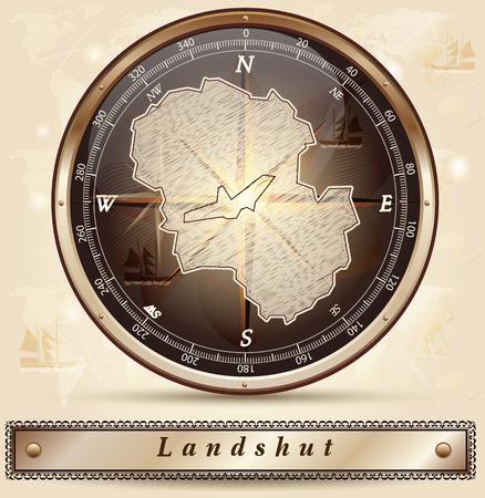 landshut: Map of Landshut with borders in bronze