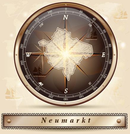 Map of Neumarkt with borders in bronze Vector