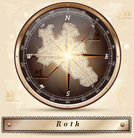 roth: Map of Roth with borders in bronze Illustration