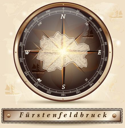 alling: Map of Fuerstenfeldbruck with borders in bronze