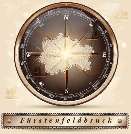 alling: Map of Fuerstenfeldbruck with borders in bronze