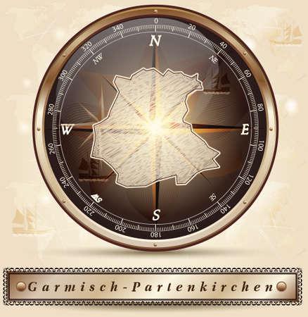 ettal: Map of Garmisch-Partenkirchen with borders in bronze