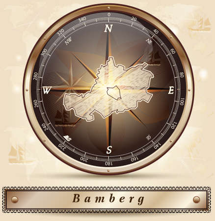 li: Map of Bamberg with borders in bronze