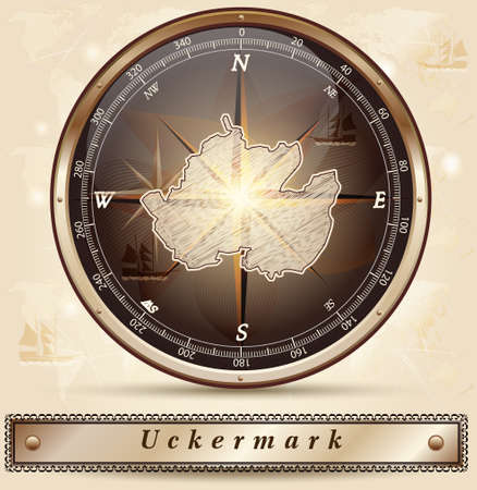 marrow: Map of Uckermark with borders in bronze Illustration