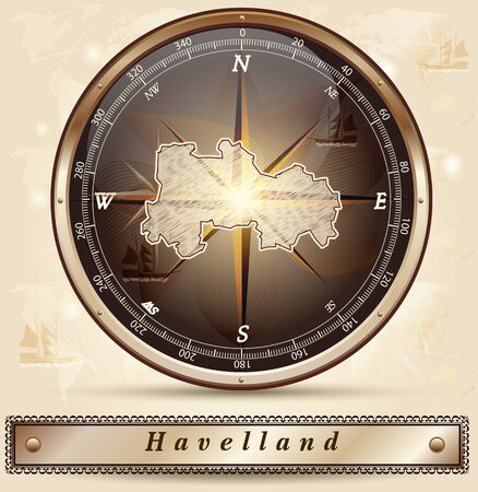 falkensee: Map of Havelland with borders in bronze