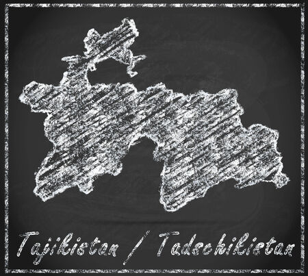 tajikistan: Map of tajikistan as chalkboard