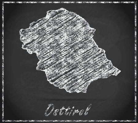 tyrol: Map of East Tyrol as chalkboard Stock Photo