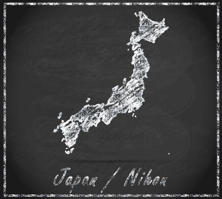 fukushima: Map of Japan as chalkboard