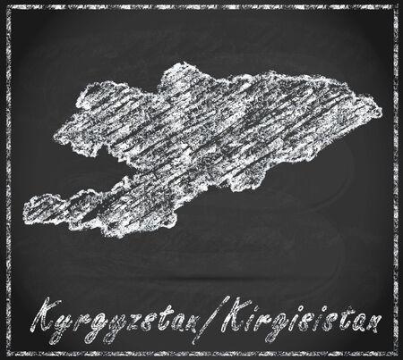 kyrgyzstan: Mapa de Kirguist�n como pizarra