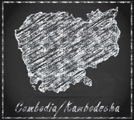 cambodia: Map of Cambodia as chalkboard Stock Photo