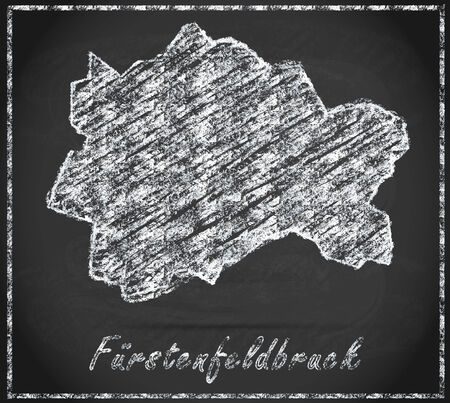 alling: Map of Fuerstenfeldbruck as chalkboard
