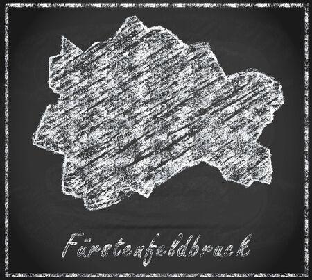 alling: Map of Fuerstenfeldbruck as chalkboard