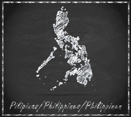 manila: Map of philippines as chalkboard Stock Photo
