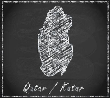 qatar: Map of Qatar as chalkboard