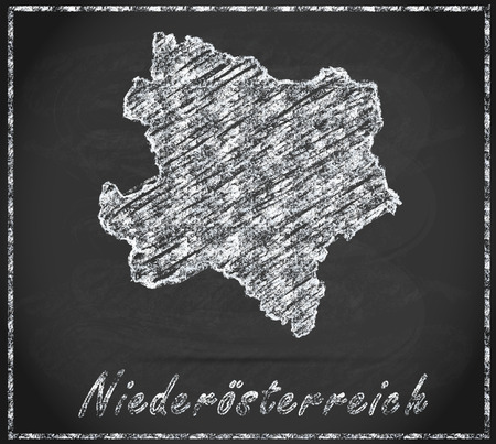 lower: Map of Lower Austria as chalkboard Stock Photo
