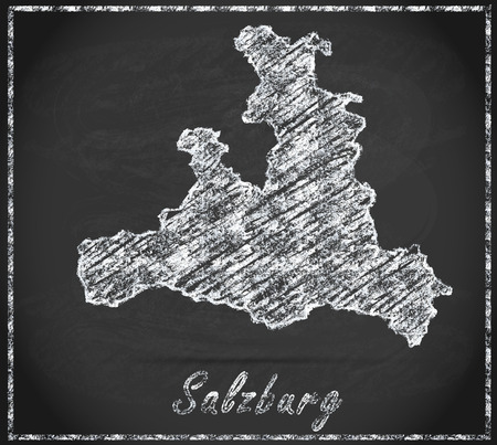 saalfelden: Map of salzburg as chalkboard