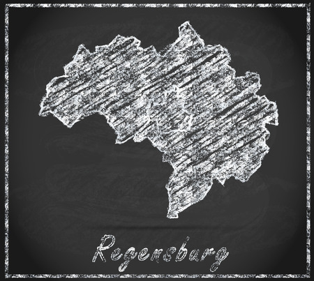 regensburg: Map of regensburg as chalkboard