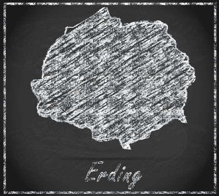inning: Map of Erding as chalkboard Stock Photo
