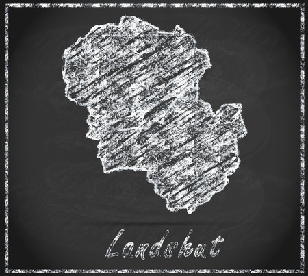 landshut: Map of Landshut as chalkboard Stock Photo