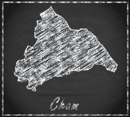 hallow: Map of cham as chalkboard Stock Photo