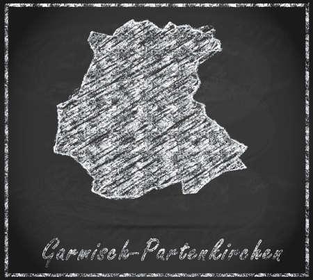 ettal: Map of Garmisch-Partenkirchen as chalkboard