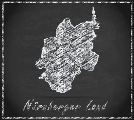 Kaart van Nuernberger-Land als schoolbord