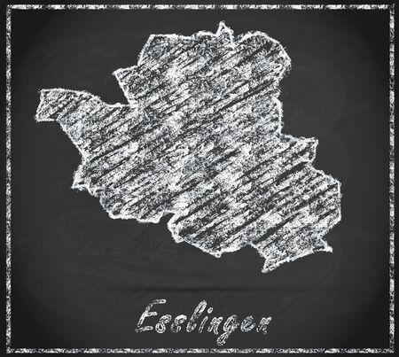 teck: Map of Esslingen as chalkboard Stock Photo