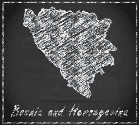 bosnia: Map of Bosnia and Herzegovina as chalkboard