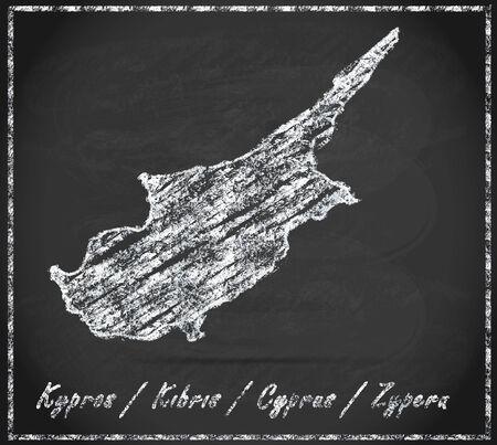cyprus: Map of Cyprus as chalkboard