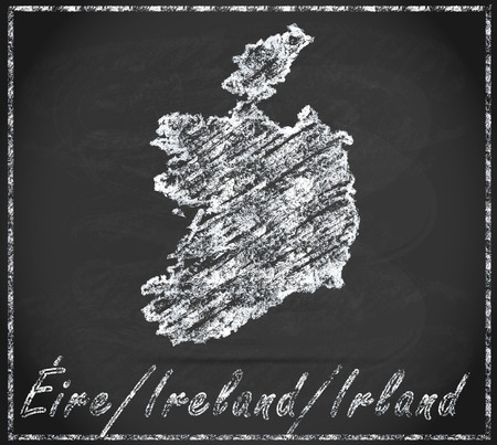 dun: Map of Ireland as chalkboard