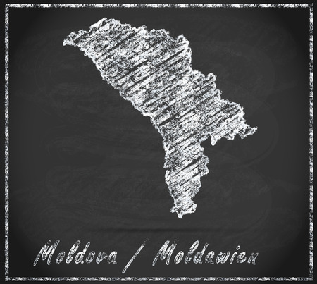 bender: Map of moldavia as chalkboard Stock Photo