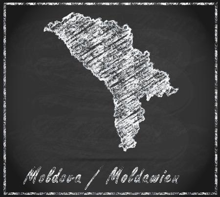 bender: Map of moldavia as chalkboard Stock Photo