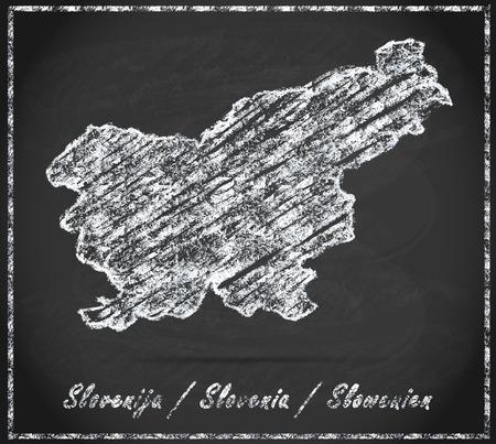 Map of Slovenia as chalkboard